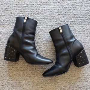 THE KOOPLES leather boots with studded heel